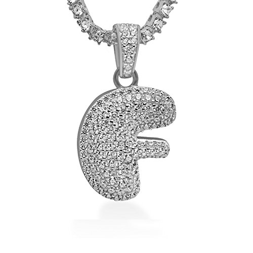 925 Sterling Silver White Gold-Tone Iced Out Hip Hop Swag Bling Bubble Letter F Pendant with 24'' 1 Row Chain by iRockBling