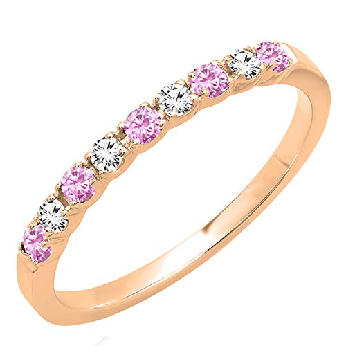 - Dazzlingrock Collection 14K Round Pink Sapphire & White Diamond Ladies Wedding Band, Rose Gold, Size 8