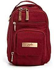 JuJuBe Mini BRB Backpack | Tibetan Red | Chromatics | Travel-Friendly Diaper Bag, Machine Washable Daypack, Compact Stylish Mini Backpack Purse, Adjustable Straps, for Kids and Adults