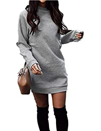 Xuan2Xuan3 Women's Fleece Long Sweatshirt Dress Crewneck Pullover Casual Long Sleeve Bodycon Mini Sweater Dress