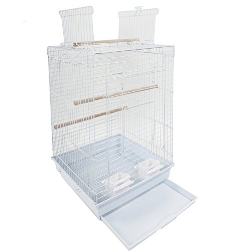Yoshioe 23'' Bird Metal Cage For Parrot Lovebirds Parakeets With Wood Perches Food Cups Top- Ideal Open Play by Yoshioe
