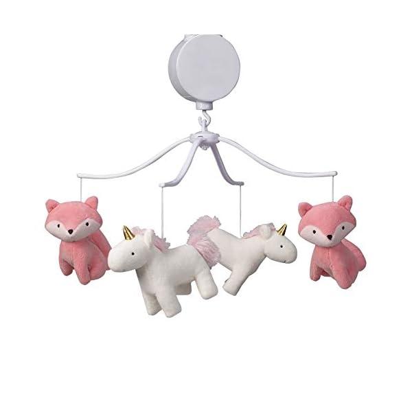 Bedtime Originals Rainbow Unicorn Musical Baby Crib Mobile, Pink