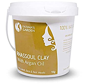 Ghassoul Clay Rhassoul Clay With Argan Oil by Fatima Garden – Mud Mask for Skin Detox Hair Nourishment Skin Exfoliator Cleanser for Acne, Dead Cells, Dandruff Detangler Hair Mask-35oz 1kg