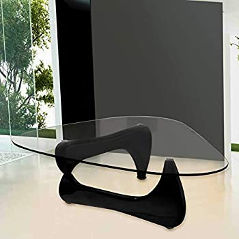 Fab Glass and Mirror Noguchi Style Coffee Table Clear Glass Top, Black