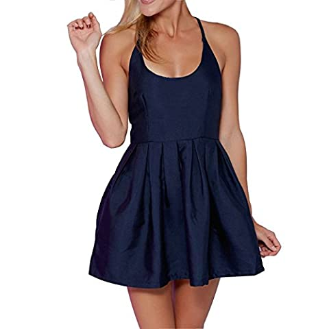 MIXMAX Women's Sleeveless Strappy Open Back Fit and Flare A-line Mini Dress (Medium, Nave Blue) - Flare Mini Dress
