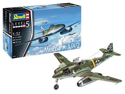 Revell GmbH Revell 03875 3875 1:32 Me262 A-1 Jetfighter Plastic Model Kit, Multicolour, 1/32 (Me262 Model)