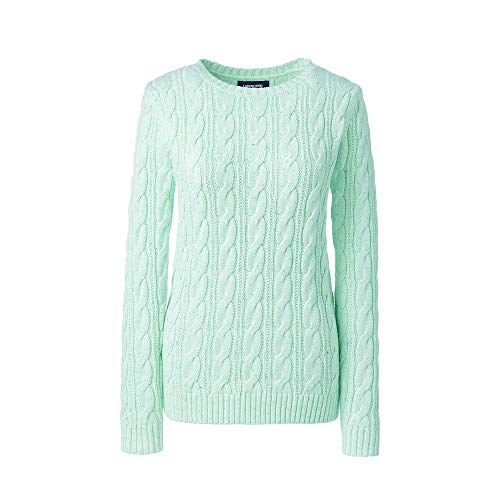 - Lands' End Women's Drifter Cotton Cable Knit Sweater Crewneck, XL, Ice Green Donegal