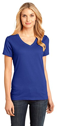 District Made - Ladies Perfect Weight V-Neck Tee. DM1170L Deep Royal L from District Made