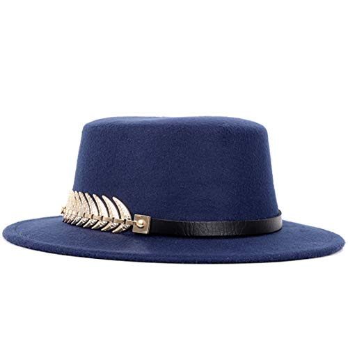 (Men's Classic Wool Felt Fedora Hats Vintage Porkpie Hat Jazz Cap with Leather Belt)