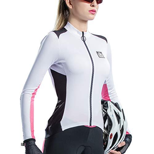 Santic Fahrradtrikot Damen Langarm Radtrikot Damen Fahrradshirt/Radshirt/Bikeshirt MTB mit Taschen