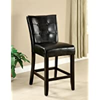 Furniture of America Perris Modern Leatherette Counter Height Dining Chair, Espresso, Set of 2
