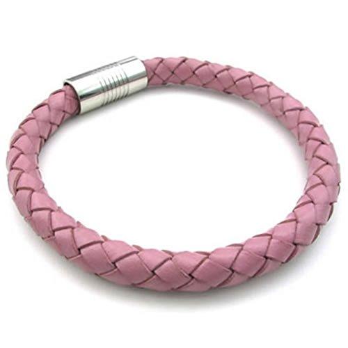 Epinki Stainless Steel Bracelet, Womens Weave Round Bracelet Pink Length 9 Inch