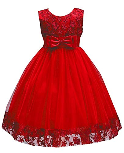 Toddler Girls Tutu Dress 2T Special Occasion 4T Red Festival Graduation Holiday Knee Length Red Sash Little Girls Dress Size 4 6X for Wedding Child Bridesmaid Sleeveless 4-5 Years (Red 110) ()