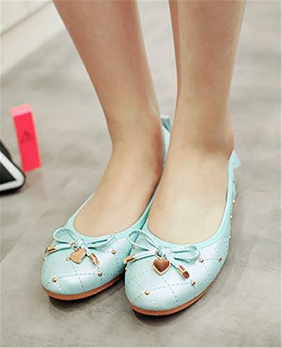 Foldable Womens Blue Pointed Ballet Slip Cloudless on Flats Toe Bow Soft Flats SRqUB1