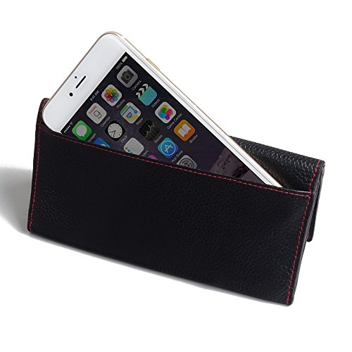 Apple iPhone 7 Plus Case, Leather Case, Pouch, Holster, Wallet Case, Protective Case, Phone Case - Leather Continental Wallet Case (Black Pebble Leather/Red Stitch) by Pdair
