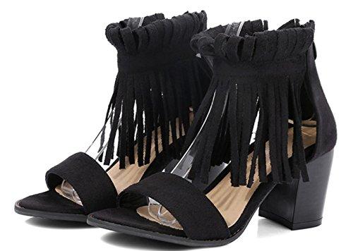 YCMDM Womens artificiale dell'unità di elaborazione High Heel traspirante Roma Retro sandali della bocca dei pesci dei sandali di sera del partito da sposa , black , 39