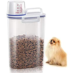 TBMax Pet Food Storage Containers for Dogs Airtight Cat Food Container with Pour Spout + Measuring Cup BPA Free Plastic Dry Birds Fish Food Dispenser