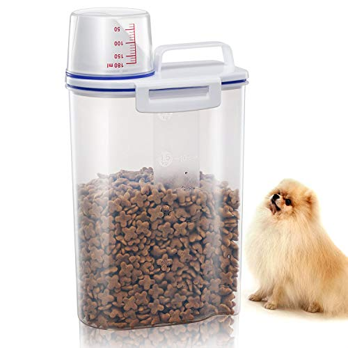 TBMax Pet Food Storage Containers for Dogs Airtight Cat Food Container with Pour Spout + Measuring Cup BPA Free Plastic Dry Birds Fish Food Dispenser by TBMax