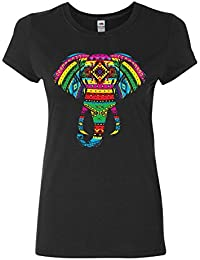 Elephant Henna Style Women's T-Shirt India GLOW IN THE DARK Cotton Tee