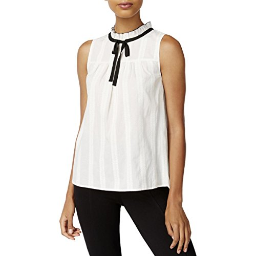 kensie Womens Cotton Embroidered Blouse Ivory L -