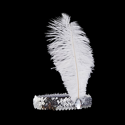[Luxury Roaring Twenties Feathered Headband by Vowster, 1920s Costume Headpiece Design with Sequins. For the Art Deco, Flapper Girl Themed Vintage Fancy Dress. Silver with White] (Dancing With The Stars Costumes Designs)