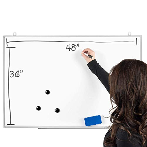 OfficePro Ultra-Slim, 36 x 48 Inch Lightweight Magnetic Dry Erase Board & Accessories (Includes Whiteboard Pen & Pen Tray, 3 x Magnets & Eraser) by OfficePro (Image #1)
