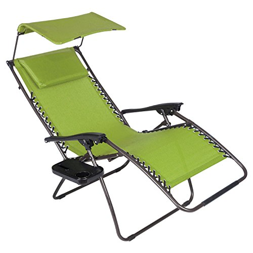 Just Relax Oversized Zero Gravity Chair with Pillow, Canopy, and Clip-On Table (Green) by Just Relax