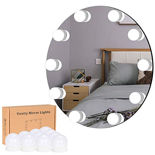 LiveComfort Vanity Lights, Hollywood Style Adjustable Vanity Mirror Lights with 10 Dimmable LED Bulbs, 10 Brightness Modes, 3 Light Colors and USB Power Supply, Mirror NOT Included ()