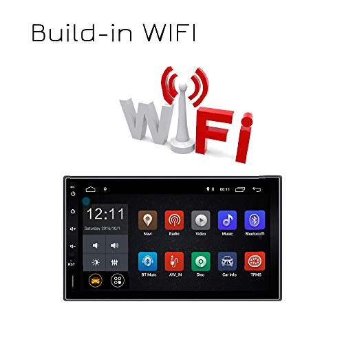 Lexxson Android 7.1 FM/AM Car Radio Stereo 2Din 7 inch Capacitive Touch Screen GPS Navigation Wireless USB SD Mirro Link Player 1G DDR3 + 16G NAND Memory Flash CT0009L