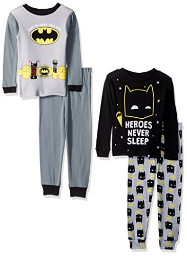 DC Comics Boys' Toddler Batman 4-Piece Cotton Pajama Set, Heroic Black, 3T