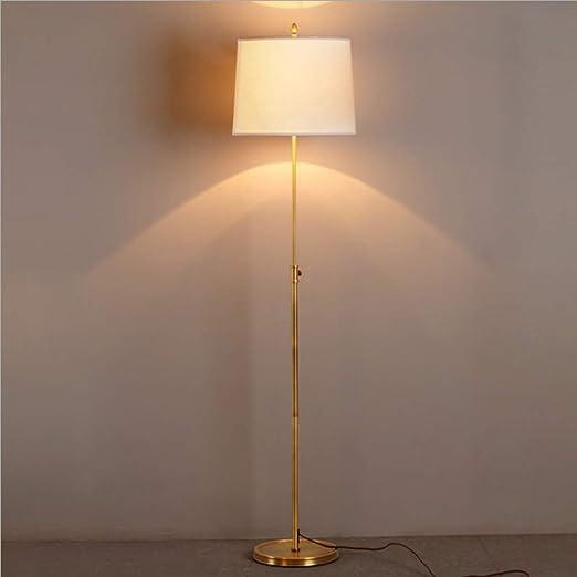 FYJP Floor Lamp Cobre Simple lámpara lámpara de pie Estudio Dormitorio Comedor salón Retro jardín lámpara Regulable en Altura: Amazon.es: Hogar
