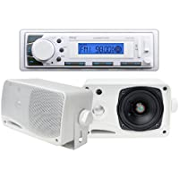 NEW Pyle PLMR20W AM/FM USB/SD iPod AUX Receiver Stereo + 2) 3.5 200W Speakers