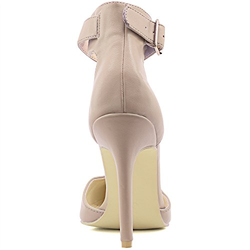 DailyShoes Womens High Heel Pointed Toe Ankle Buckle Strap Evening Party Dress Casual Sandal Shoes Nude Pu Yn2zC