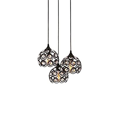 Unitary Brand Antique Black Metal Crystal Hollow Multi Pendant Light with 3 E26 Bulb Sockets 120W Painted Finish