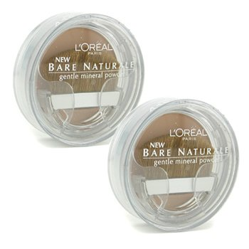 L'Oreal Bare Naturale Gentle Mineral Powder Compact with Brush Duo Pack - No. 418 Buff Beige - 2x9.5g/0.33oz