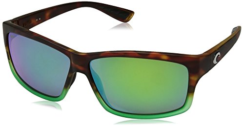 Costa del Mar Cut Polarized Iridium Square Sunglasses, Matte Tortuga Fade, 60.6 mm