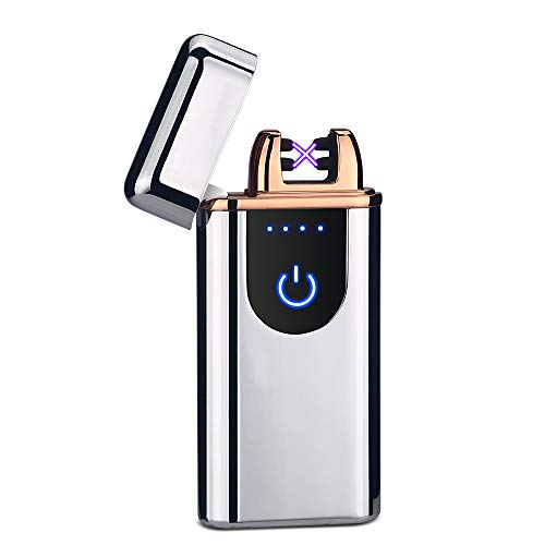 LINGAN USB Lighters Dual Arc Lighter Electronic Rechargeable Flameless Windproof Plasma Portable Double Arc Lighter for Cigar Cigarette Pipe (Silver)