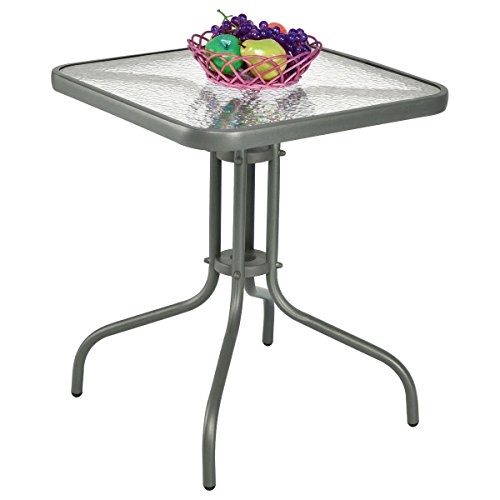jn.widetrade Square Outdoor Bistro Table Metal Grey Steel Frame with Glass Table Top for Backyard Swimming Pool side Decor Patio & e-book by by jn.widetrade