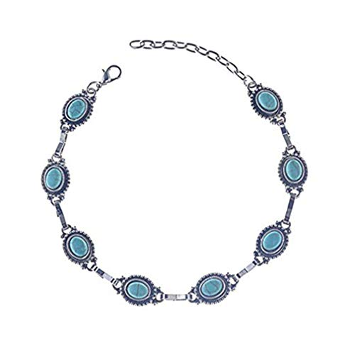 - NIKOLay Teardrop Artificial Turquoise Bracelet Anklet Adjustable Retro Creative Anniversary Christmas