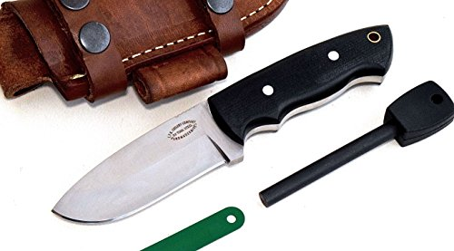 (CFK Cutlery Company USA Deer ELK Skinner II Custom Handmade D2-Tool-Steel Black Micarta Small Hunting Skinning Knife with Leather Sheath & Fire Starter Rod Set)