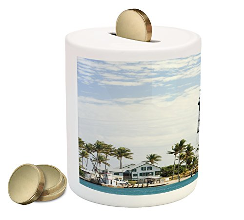 Ambesonne United States Piggy Bank, Hillsboro Lighthouse Pompano Beach Florida Atlantic Ocean Palms Coast, Printed Ceramic Coin Bank Money Box for Cash Saving, Blue White Green