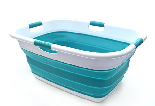 (SAMMART Collapsible 4 Handled Laundry Basket - Foldable Storage Container/Organizer - Portable Washing Bin - Space Saving Hamper - Pet Bath Tub (1 pc - Rectangular, Bright Blue))