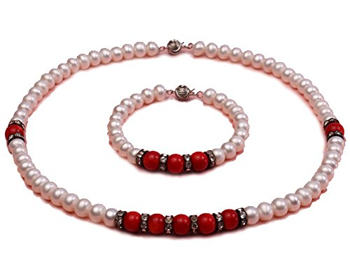 JYX 8mm White Freshwater Pearl & Red Coral Beads Necklace and Bracelet (White Pearl Red Coral Necklace)