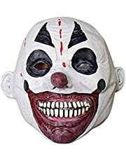 Scary Halloween Clown Mask with White and Red Creepy Face Paint and Teeth, Costume Accessory for Adults, One Size