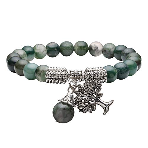 Jovivi 8MM Natural Moss Agate Gemstone Tree of Life Lucky Charm Stretch Bracelet