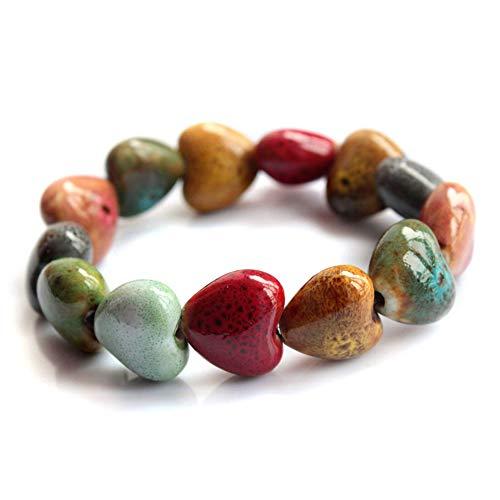 Wansan Ceramic Bracelet Colorful Elastic Handmade Simple Ethnic Style Hand Chain Heart