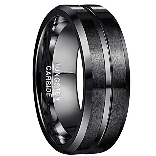NUNCAD Tungsten Wedding Band Ring Engraved I Love You Men Women Polished Groove Matte Finish Beveled Edges Size 10