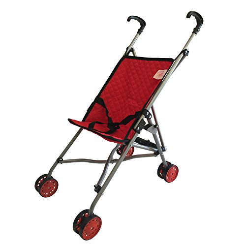 My First Doll Stroller for Kids - Super Cute Doll Stroller for Girls - SUPERIOR QUALITY Red Quilted Fabric- NEW LUXURY COLLECTION - Doll Stroller Folds for Storage - Great Gift for (Stroller Girl)
