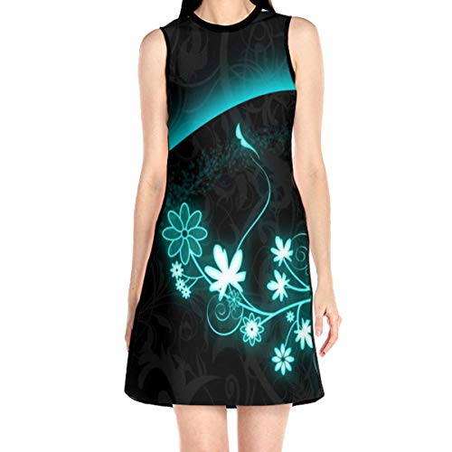 Laur Women¡¯s Sleeveless Scuba Sheath Dress Abstract Flowers Print Casual/Party/Wedding Dress S White