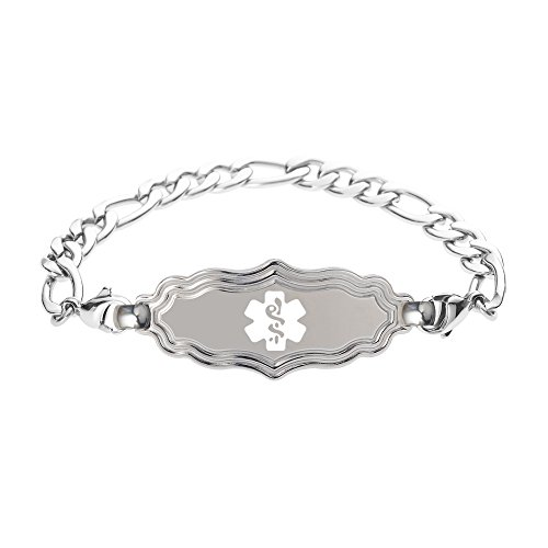 - Divoti Deep Custom Laser Engraved Victorian Art Deco Medical Alert Bracelet -Stainless Figaro-White-7.5